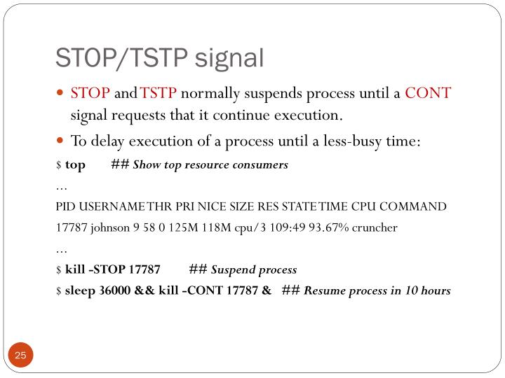 STOP/TSTP signal