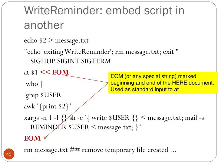 WriteReminder: embed script in another