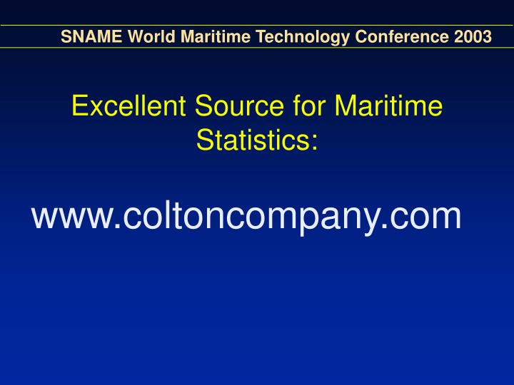 Excellent Source for Maritime Statistics: