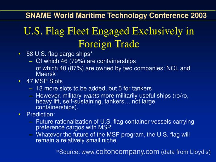 U.S. Flag Fleet Engaged Exclusively in Foreign Trade