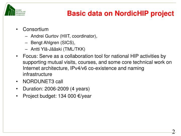 Basic data on NordicHIP project