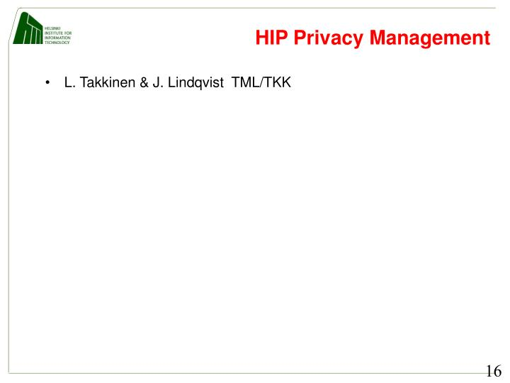 HIP Privacy Management