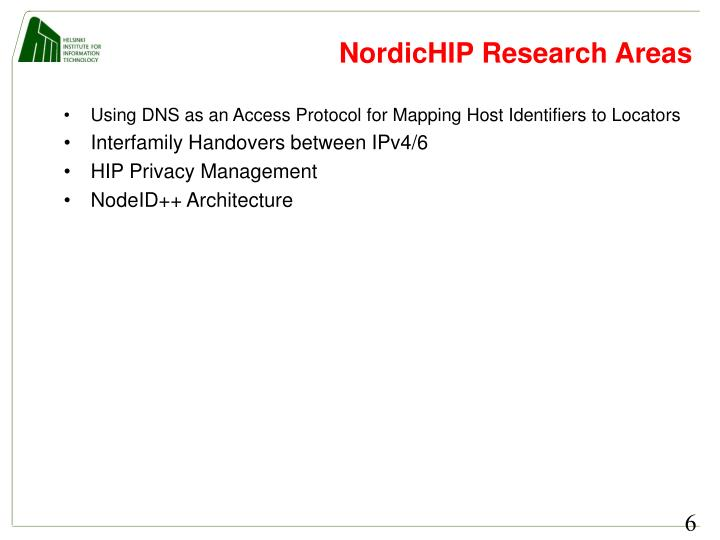 NordicHIP Research Areas