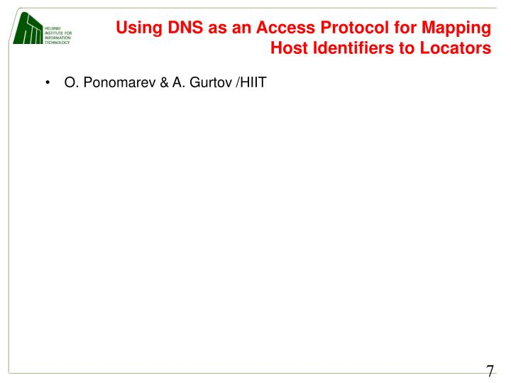 Using DNS as an Access Protocol for Mapping Host Identifiers to Locators