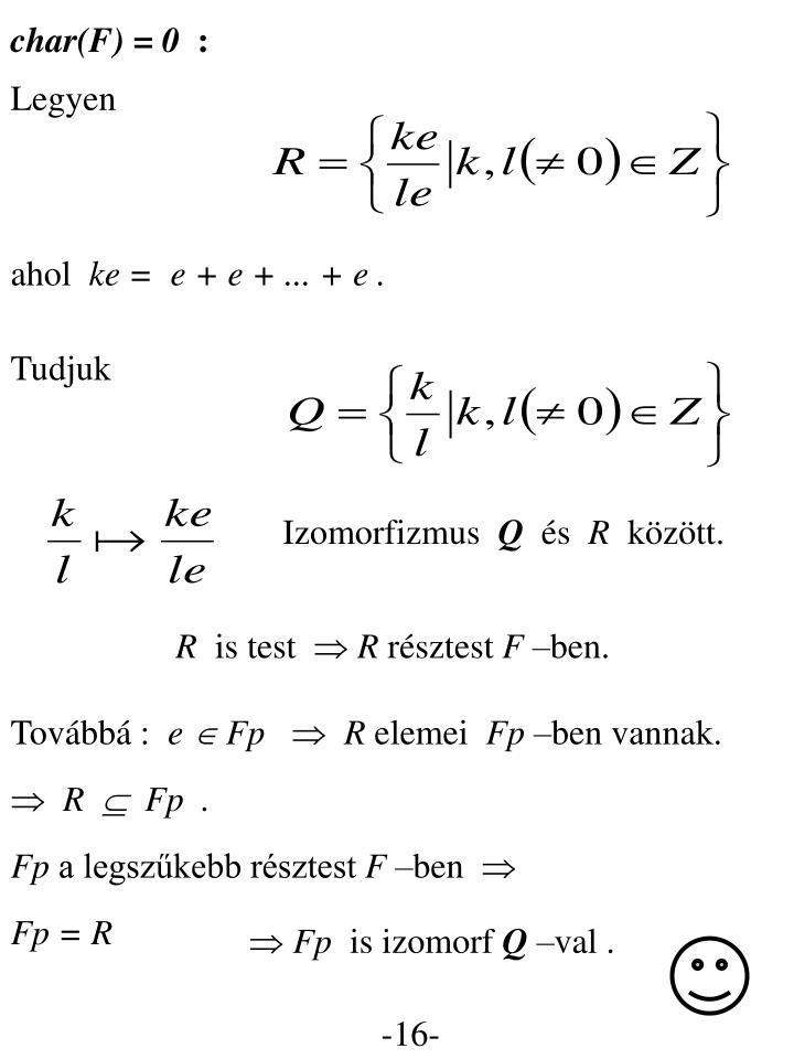 char(F) = 0