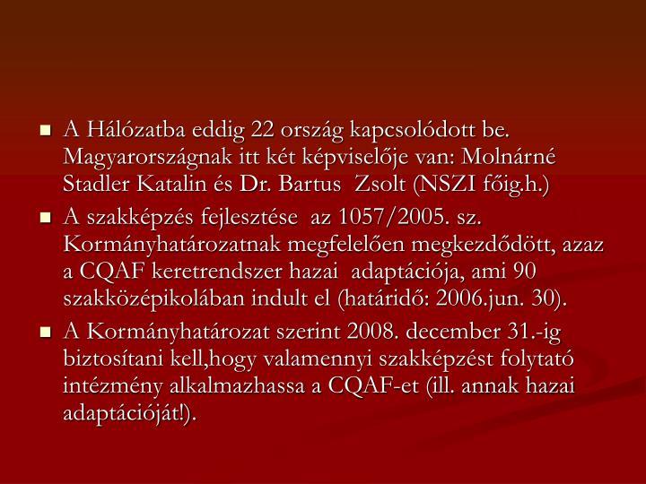 A Hálózatba eddig 22 ország kapcsolódott be. Magyarországnak itt két képviselője van: Molnárné Stadler Katalin és Dr. Bartus  Zsolt (NSZI főig.h.)