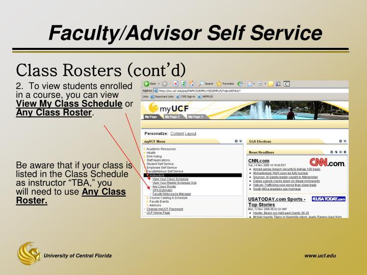 Faculty/Advisor Self Service