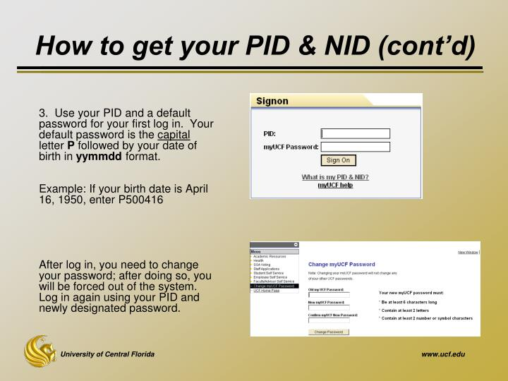 How to get your PID & NID (cont'd)