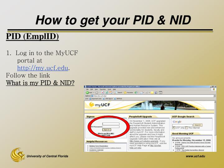 How to get your PID & NID