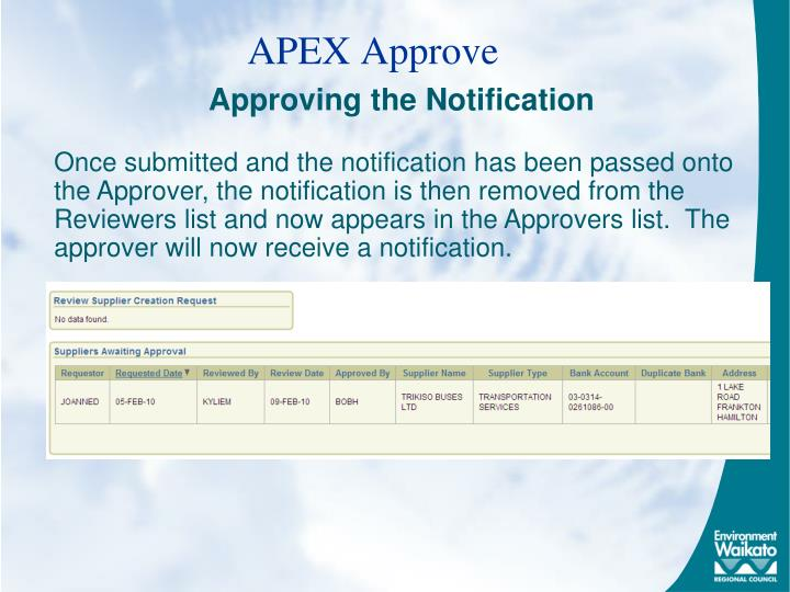 APEX Approve