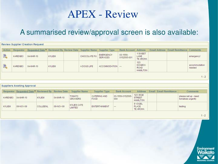 APEX - Review