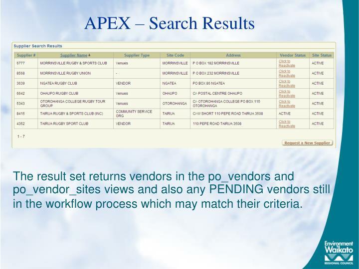 APEX – Search Results