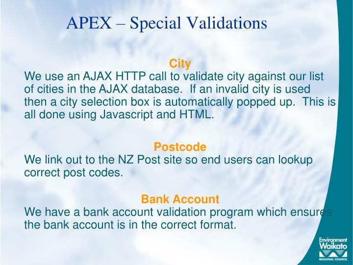 APEX – Special Validations