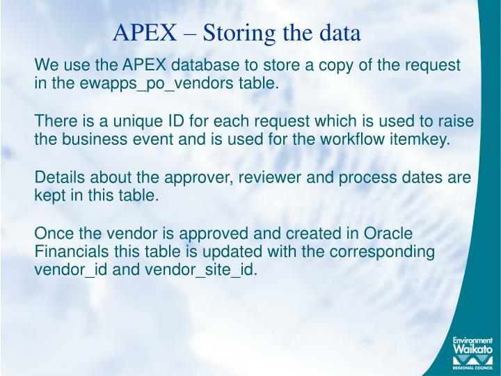 APEX – Storing the data
