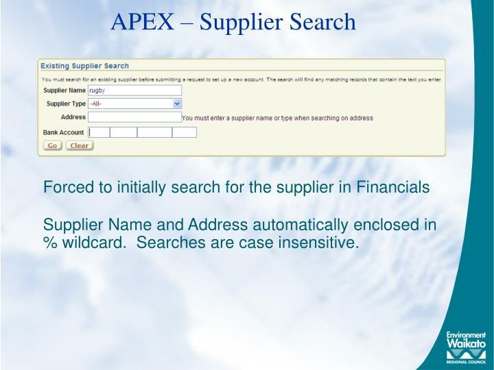 APEX – Supplier Search