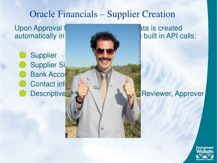 Oracle Financials – Supplier Creation