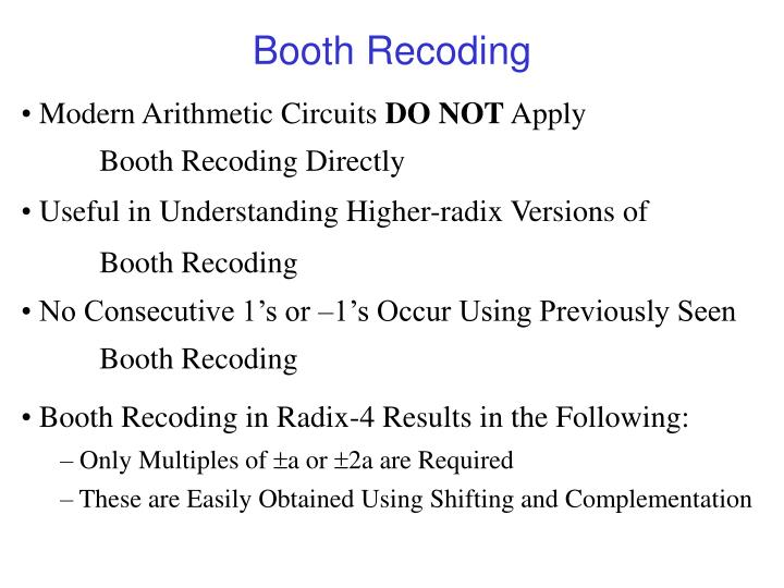 Booth Recoding