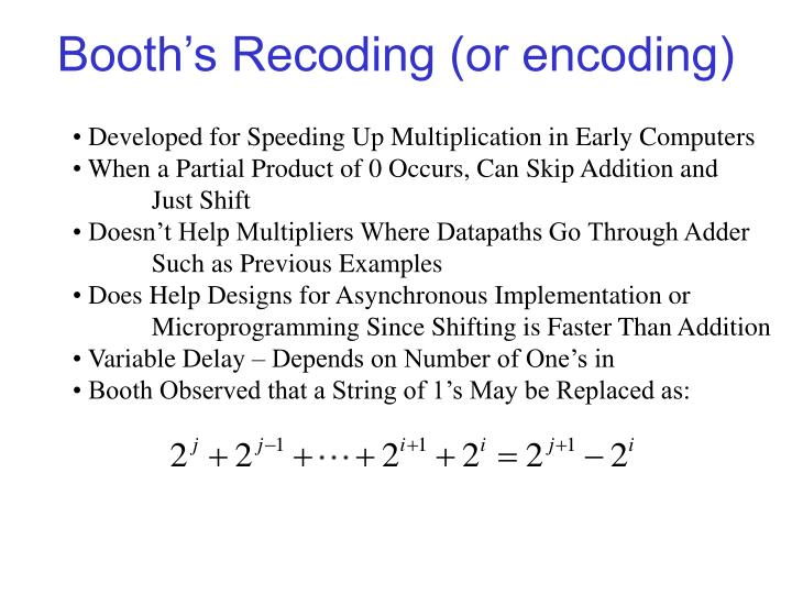 Booth's Recoding (or encoding)