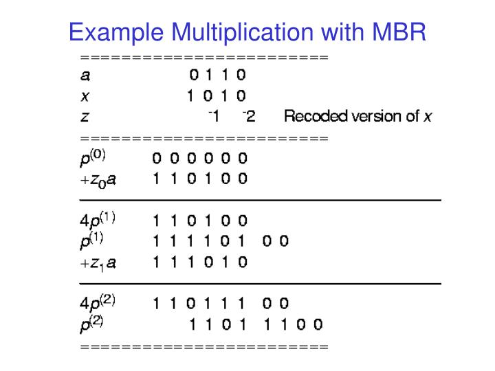 Example Multiplication with MBR