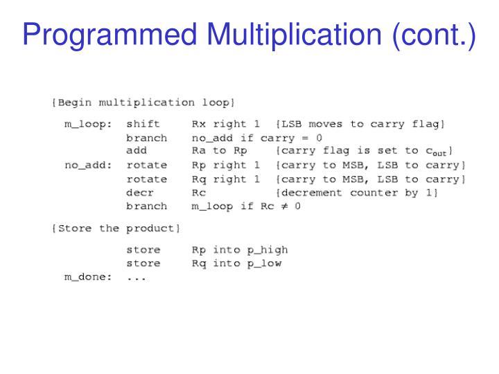 Programmed Multiplication (cont.)