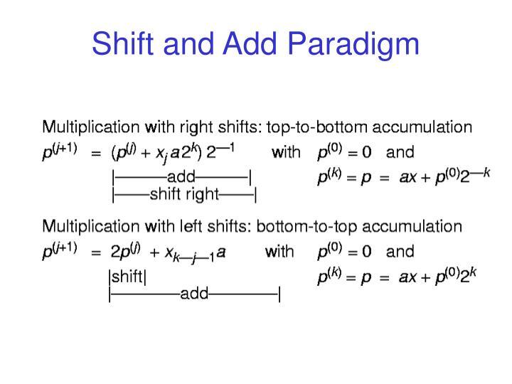Shift and Add Paradigm