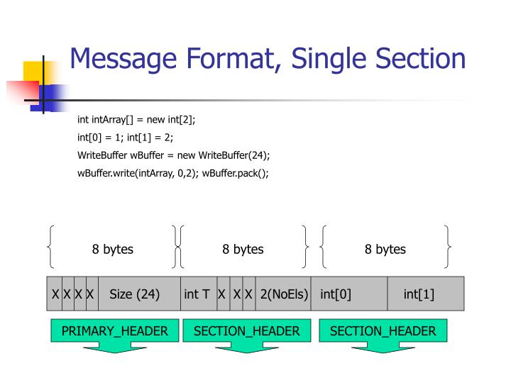 Message Format, Single Section