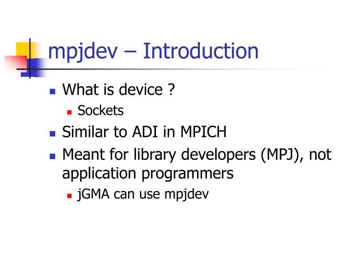 mpjdev – Introduction
