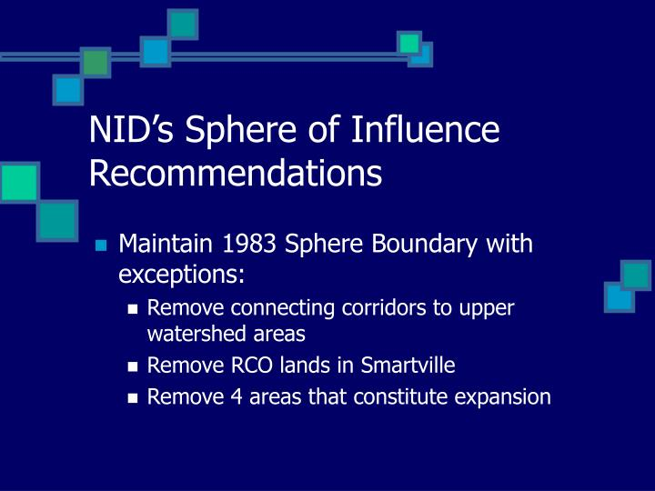 NID's Sphere of Influence Recommendations