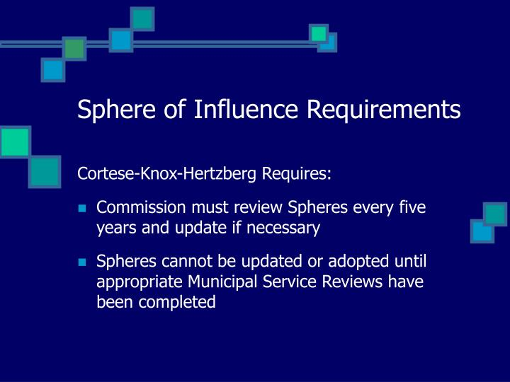 Sphere of influence requirements