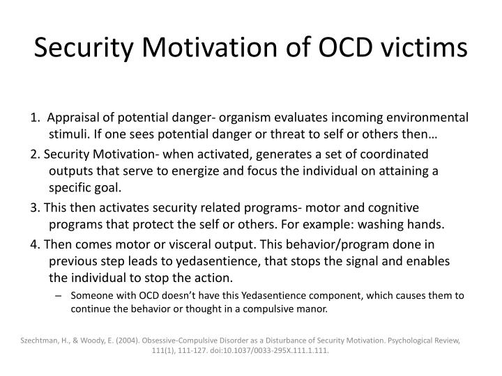 Security Motivation of OCD victims