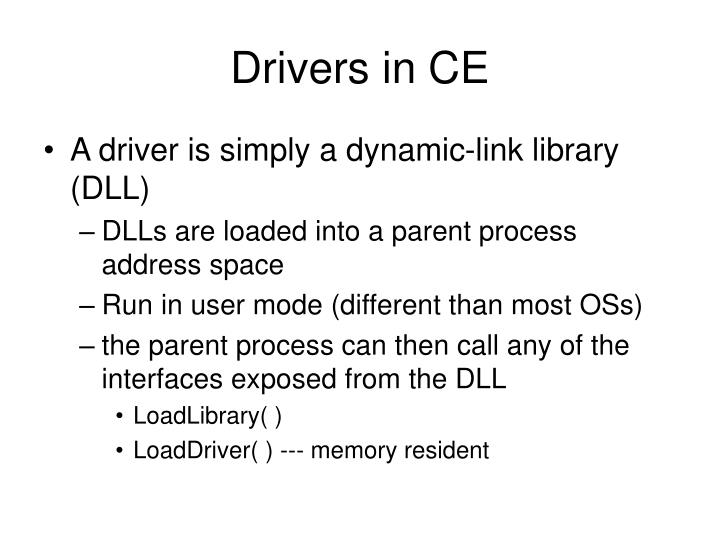 Drivers in CE