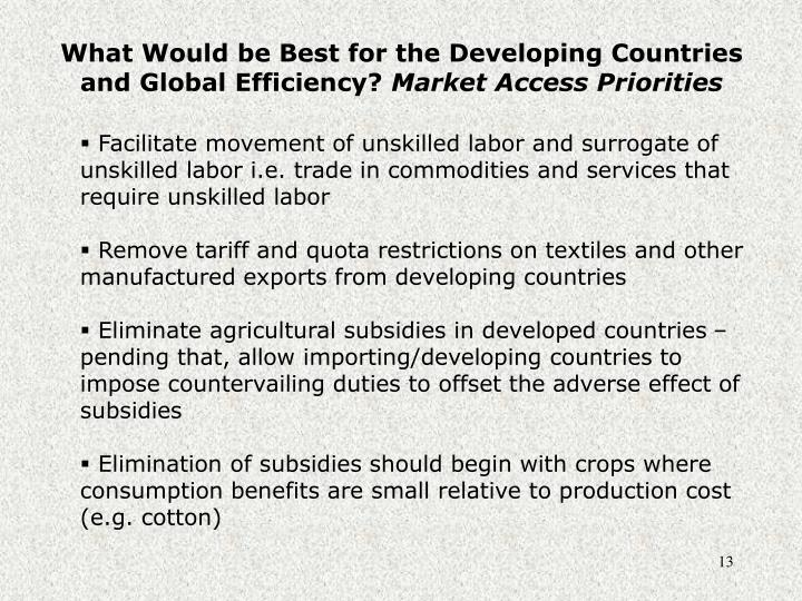What Would be Best for the Developing Countries and Global Efficiency?