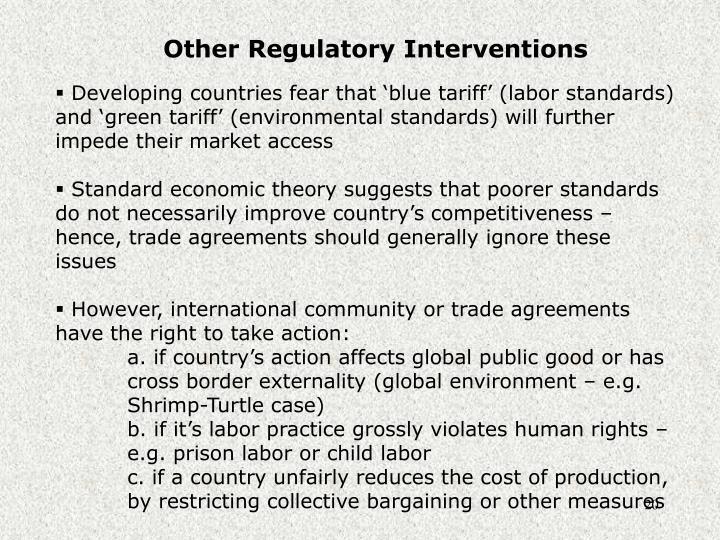 Other Regulatory Interventions