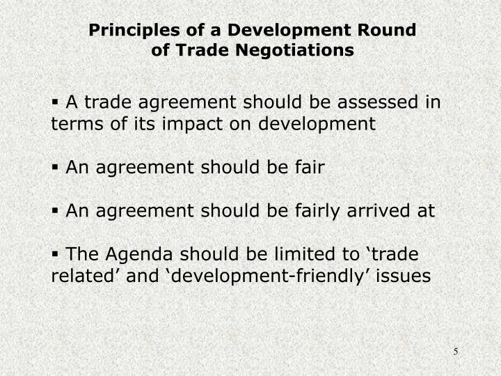 Principles of a Development Round of Trade Negotiations