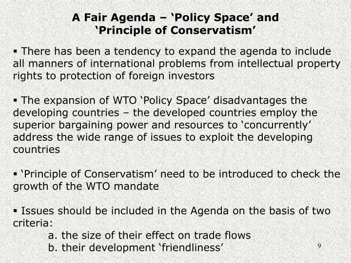 A Fair Agenda – 'Policy Space' and