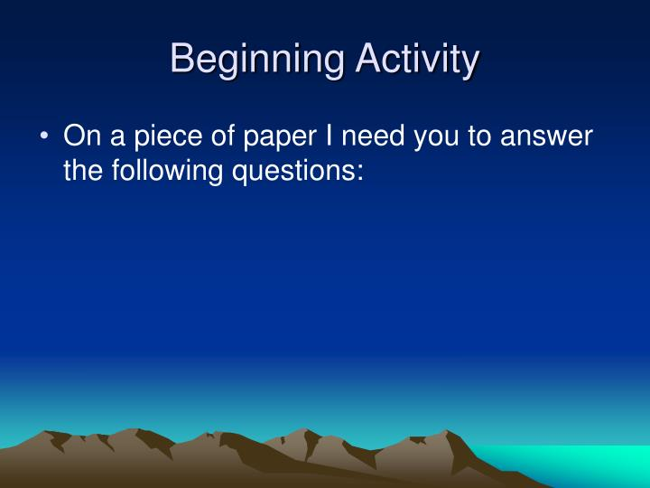 Beginning Activity