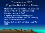 treatment for ocd cognitive behavioural theory