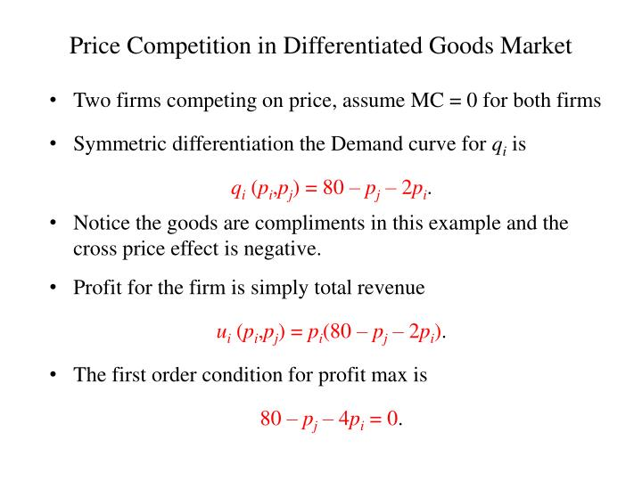 Price Competition in Differentiated Goods Market
