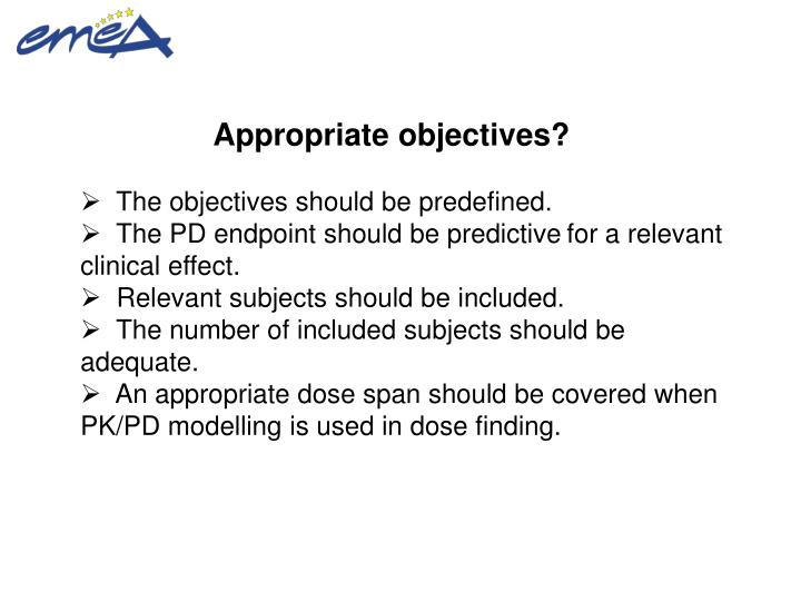 Appropriate objectives?