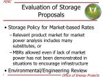 evaluation of storage proposals