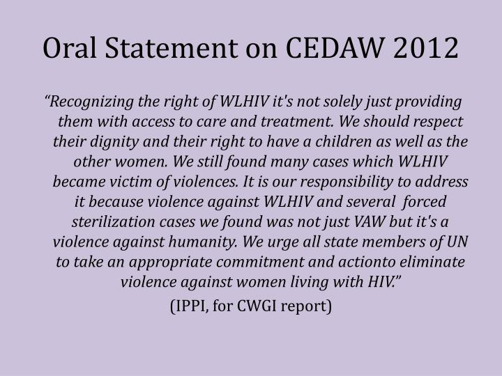 Oral Statement on CEDAW 2012