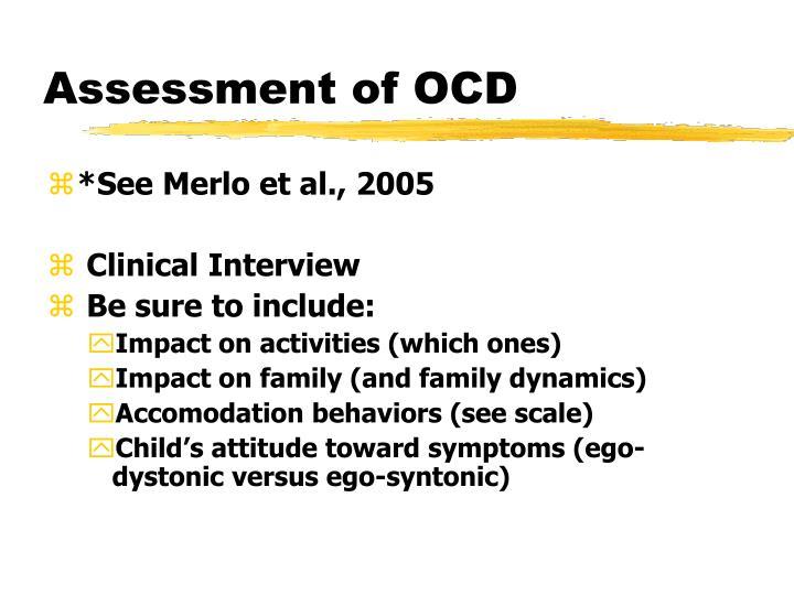 Assessment of OCD