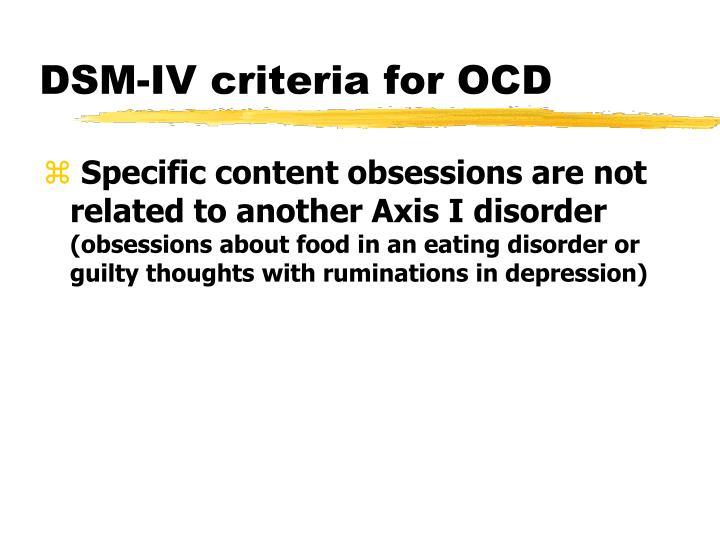DSM-IV criteria for OCD