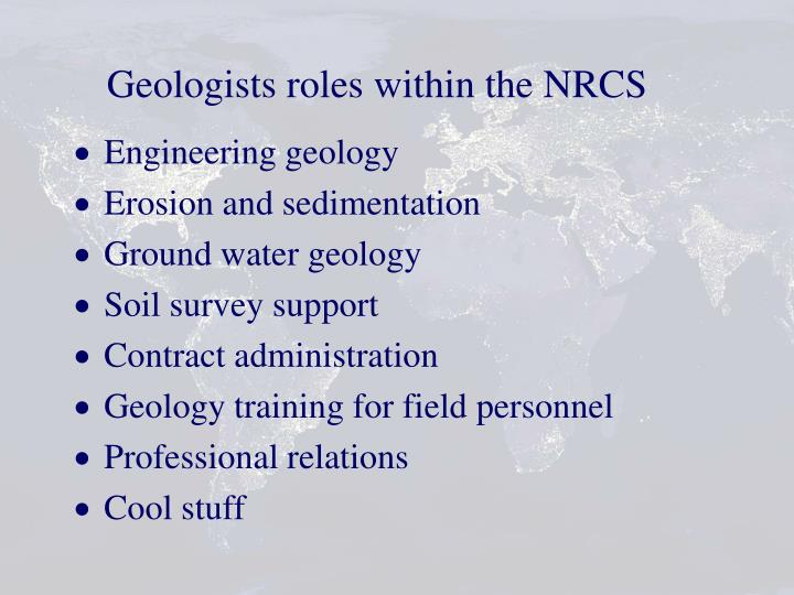 Geologists roles within the NRCS