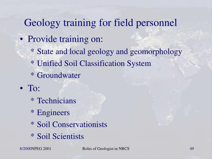 Geology training for field personnel