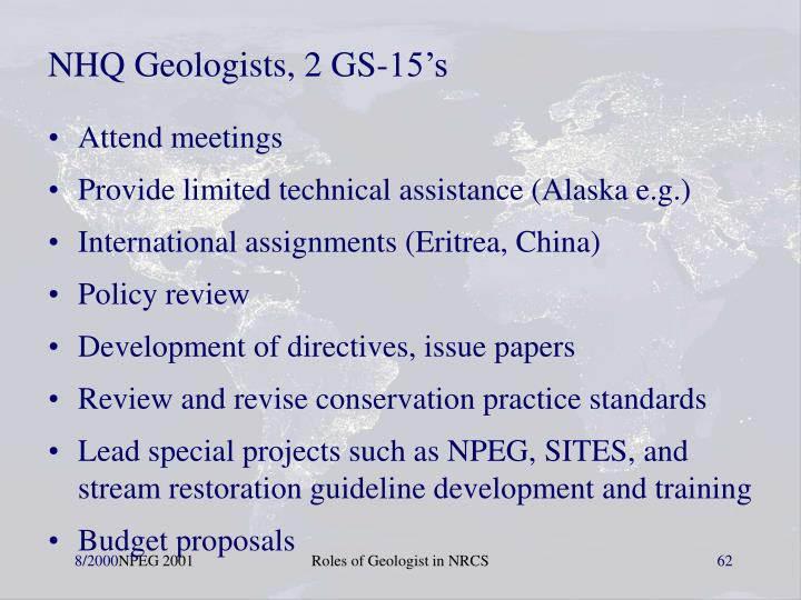 NHQ Geologists, 2 GS-15's
