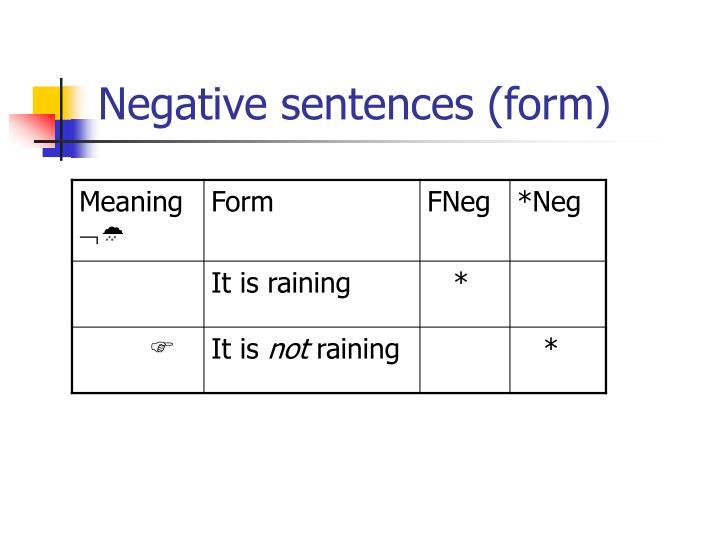 Negative sentences (form)