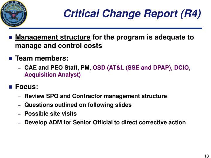 Critical Change Report (R4)