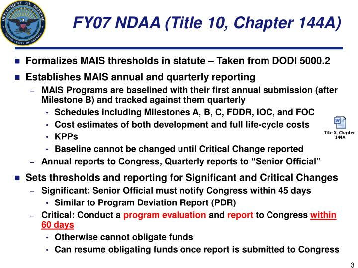 FY07 NDAA (Title 10, Chapter 144A)