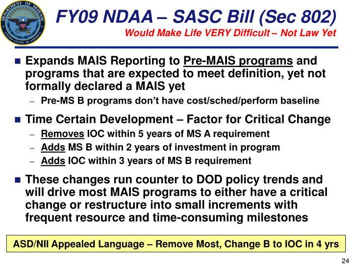 FY09 NDAA – SASC Bill (Sec 802)